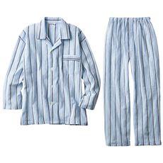 男の日本製綿100%紳士パジャマ(パンツ前開き)