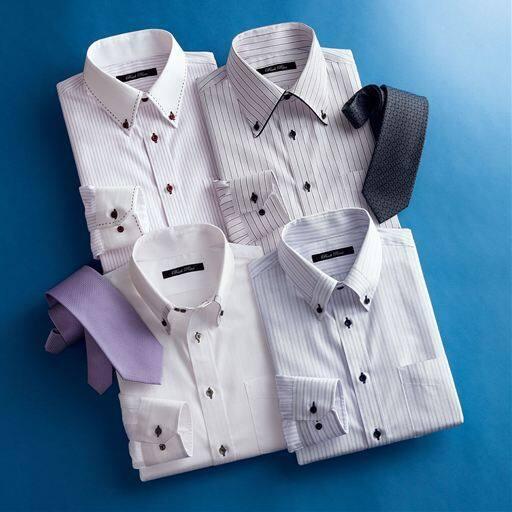 形態安定デザインYシャツ(ゆったりシルエット)(長袖)