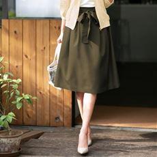 麻調スカート(共布リボン付き)
