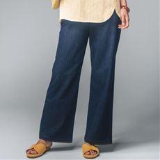 ニットデニムセミワイドパンツ(スマートニットジーンズ)(美脚パンツ・選べる3レングス)
