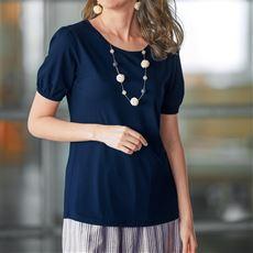 テンセル™繊維混クルーネックTシャツ(消臭テープ付き)
