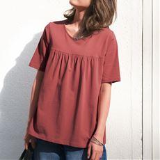 汗染み防止ギャザーTシャツ(UVカット)