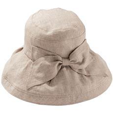 つばが広めの麻100%帽子