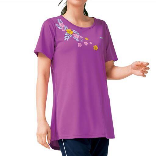 【大きいサイズ プランプ】UVカット&吸汗速乾機能付き!美シルエットと爽やかな着ごこちがうれしいチュニックTシャツです