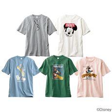 綿100%プリントTシャツ((C)Disney) みんな大好き、ミッキー・マウス!!(男女兼用)