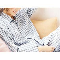 爽やか長袖シャツパジャマ(メンズサイズ・綿100%・チェック柄)