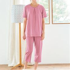 綿100%半袖Tタイプパジャマ(ドット柄)