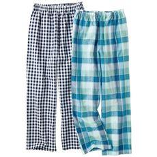 サラッとサッカーパジャマパンツ・色柄違い2枚組(綿100%・ロングパンツ)