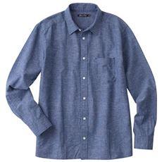 リネンブレンドコットンシャツ(長袖) 大人向けのきれいめ仕上げです