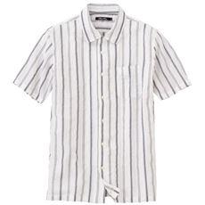 綿100%絡み織り素材のストライプ柄開襟シャツ(半袖)