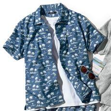 リゾート柄プリントの開襟シャツ(半袖) サラリとした綿100%ツイル素材