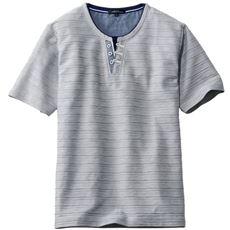 ドライ・レイヤードヘンリーネックTシャツ(半袖) タックボーダー編地