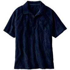 ジャカード素材スキッパーポロシャツ。ドライな地柄入りパイル素材が◎