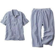 【男女兼用】ポコポコした表面感が肌にサラッと涼しいサッカー素材ルームウェア!綿100%半袖サッカーシャツパジャマ