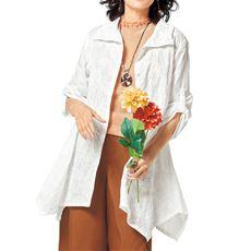 フロント刺繍チュニックシャツ(綿100%)