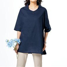 麻綿チュニックシャツ(接触冷感)