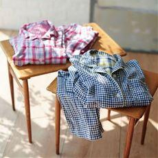 人気のチェック柄シャツパジャマ(綿100%)(二重ガーゼ)