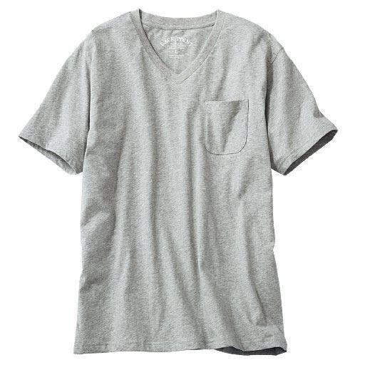 オーガニックコットン100%素材のVネックTシャツ(半袖)