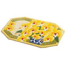 黄色い胡蝶蘭八角玄関マット