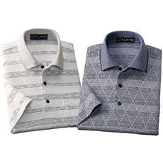 「日本製」7分袖ジャカードニットシャツ