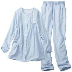 ダブルガーゼのレース付パジャマ(綿100%)
