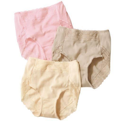 5Lまで選べる!綿100%の心地よさに、ほんのりレーシィな彩りを添えた、キレイ&実用的なショーツ、スタンダードタイプが3枚組でお買得!