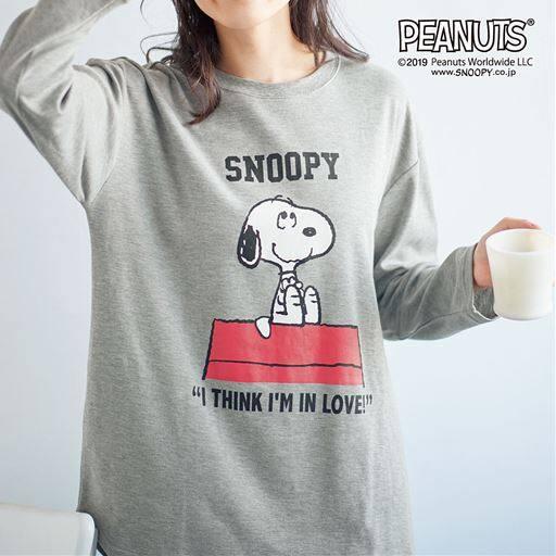 裾ラウンド長袖Tシャツ(SNOOPY)