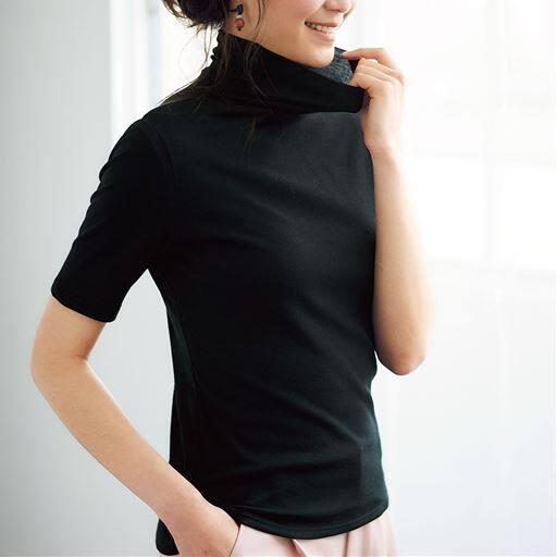 タートルネック5分袖(綿100% シフォン調素材の贅沢カットソー)