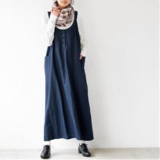 リネンコットンのワイドサロペットスカート