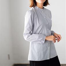 スタンドフリル衿シャツ(洗濯機OK)