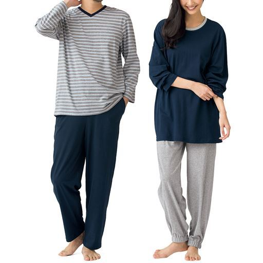 【男女兼用】自由に着まわせて洗い替えに便利な4点セットルームウェア!!ロングシーズン快適な綿100%天竺素材