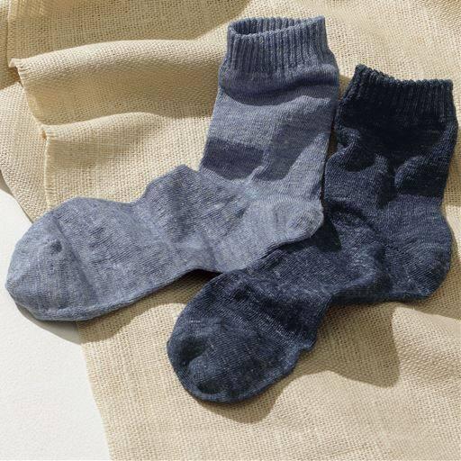 男のさらさら麻混靴下・2足組、麻の特性を十分に活かしたソックスです。