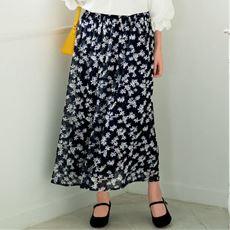 カットドビープリントスカート