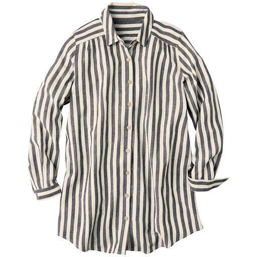 【大きいサイズ プランプ】着るほどに肌になじむ、ふんわり上質なフレンチリネンシャツ