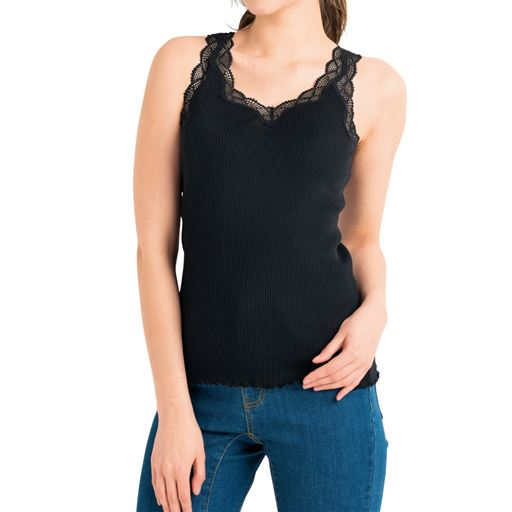 【大きいサイズ プランプ】やわらかな着心地にやみつき!脇に縫い目がなくゴロつかない丸編みの綿100%リブキャミソール