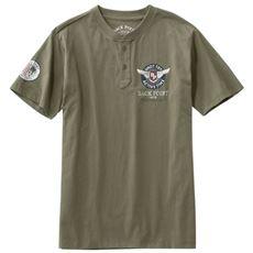 綿100%プリントヘンリーネックTシャツ(半袖)かすれ調プリントで大人にぴったりのデザイン