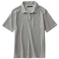 サッカー調カットソーのスキッパーポロシャツ。吸汗・速乾で着心地も爽やか彡