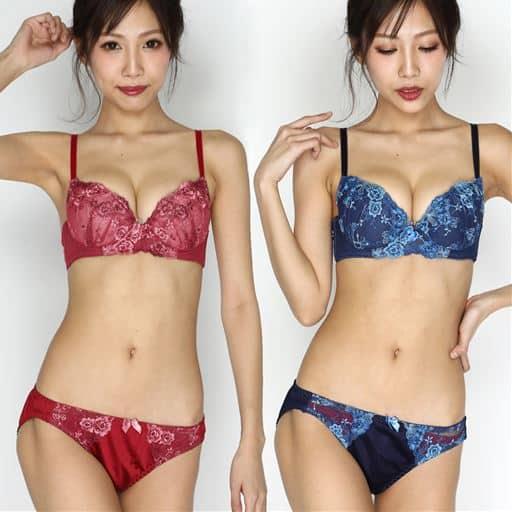 【ネット限定】花柄レースブラ&ショーツセット