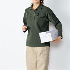 作業用ポロシャツ(長袖)女性用(吸汗速乾・静電防止)