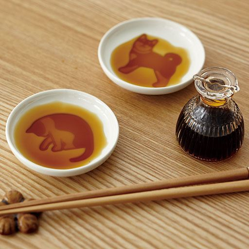 猫のデザイン醤油小皿(柄違い4枚組)