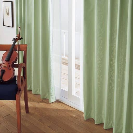 【形状記憶】草花模様が浮かび上がる1級遮光ジャカード織カーテン(遮熱・遮音)