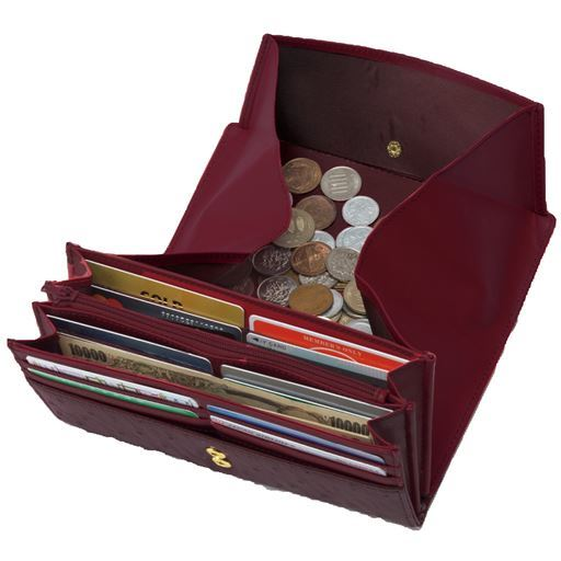 オースト型押し牛革多機能財布