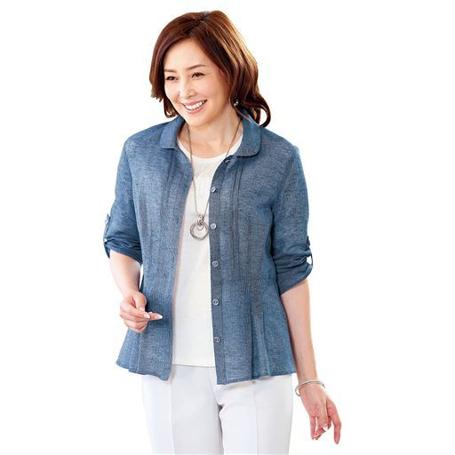 綿麻素材デザインジャケット