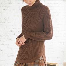 ウール混ほっこりケーブル編みニット
