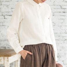 綿100%ダブルガーゼの丸襟シャツ