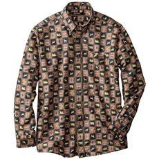 綿100%プリント微起毛ツイルシャツ