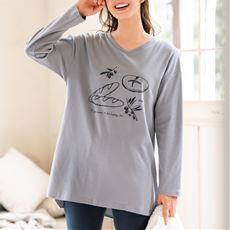 綿100%チュニック丈Tシャツ(長袖)