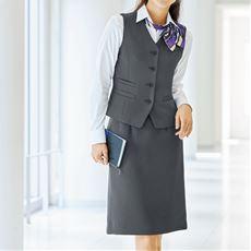 ベストスカートスーツ(洗濯機OK、撥水、防汚加工、静電防止、形態安定、ストレッチ素材)(事務服)