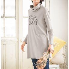あったかシンプルルーズネックTシャツ(S~5L・綿100%)