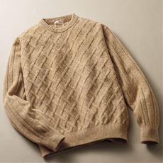 品のあるこだわり編地の日本製ラム混ニットのクルーネックセーター